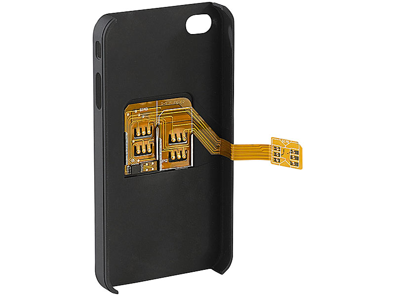 callstel triple sim adapter iphone 4 4s mit slot f r zwei sim karten. Black Bedroom Furniture Sets. Home Design Ideas