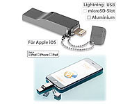 Callstel USB Speicher-Erweiterung für iPhone/iPad/iPod, bis 128 GB, Apple MFI; Magnetische Lightning-Ladestecker-Adapter Magnetische Lightning-Ladestecker-Adapter Magnetische Lightning-Ladestecker-Adapter Magnetische Lightning-Ladestecker-Adapter