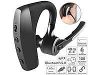 Callstel Headset, Bluetooth 5, aptX, 2 HD-Mikrofone, Windgeräusch-Unterdrückung; In-Ear-Mono-Headsets mit Bluetooth In-Ear-Mono-Headsets mit Bluetooth In-Ear-Mono-Headsets mit Bluetooth In-Ear-Mono-Headsets mit Bluetooth